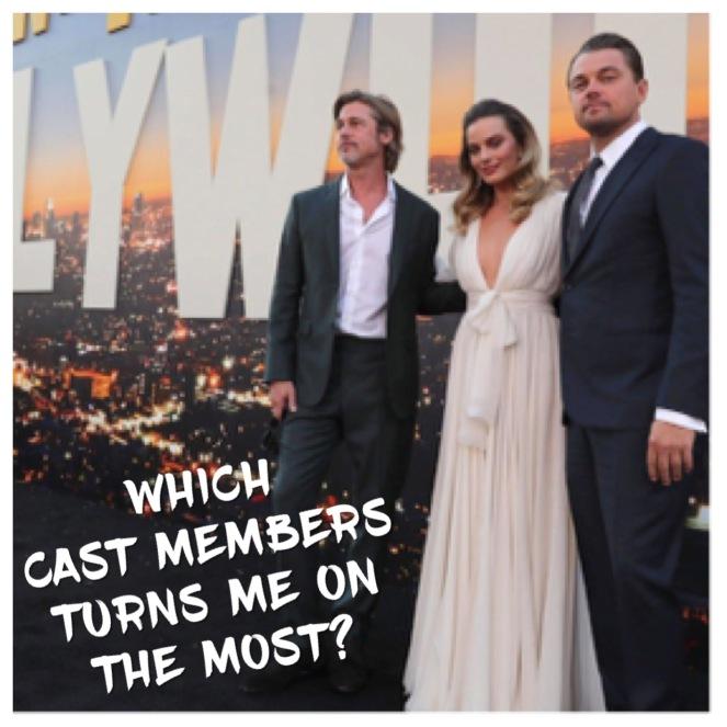 Leonardo DiCaprio, Margot Robbie, and Brad Pitt