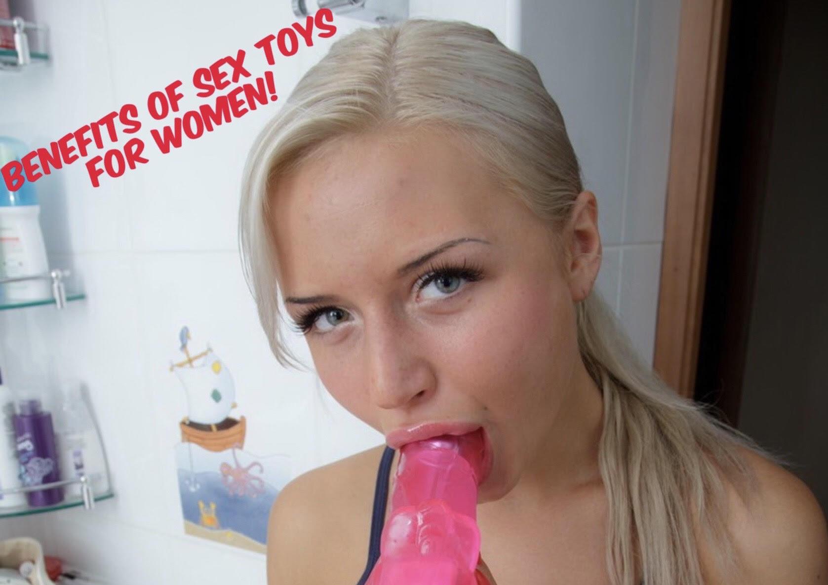 "alt=""Blonde female sucking on a dildo sex toy"">"