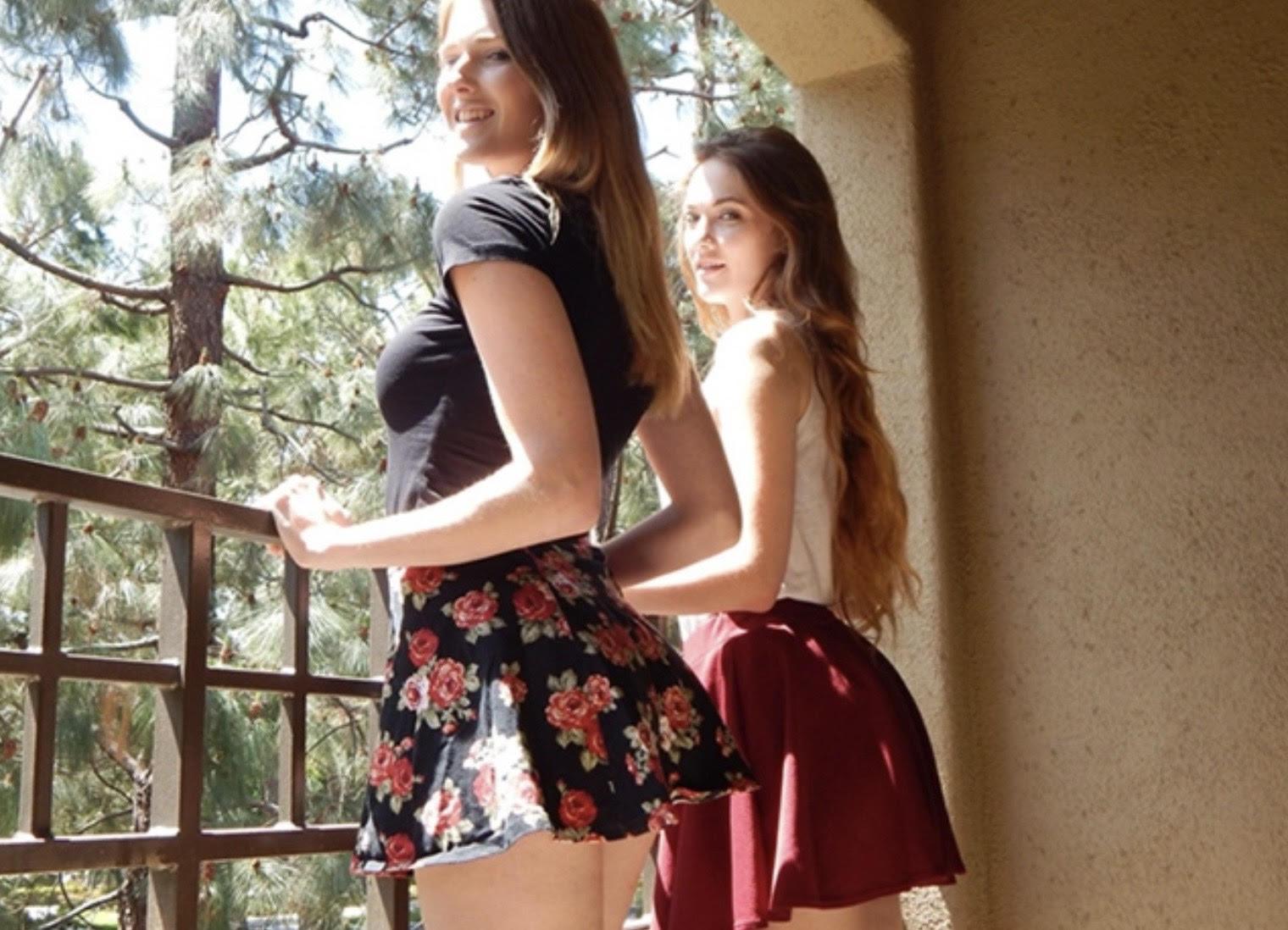 "alt=""Lesbian pornstars wearing shorts dresses"">"